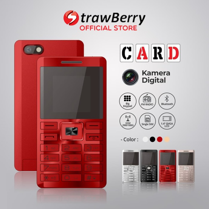 harga [fs] strawberry card | handphone candybar hp murah kamera bluetooth - merah Tokopedia.com