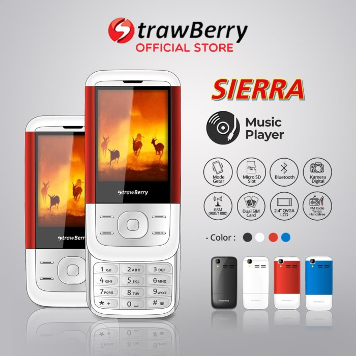 harga [fs] strawberry sierra | handphone slide hp murah kamera bluetooth - merah Tokopedia.com