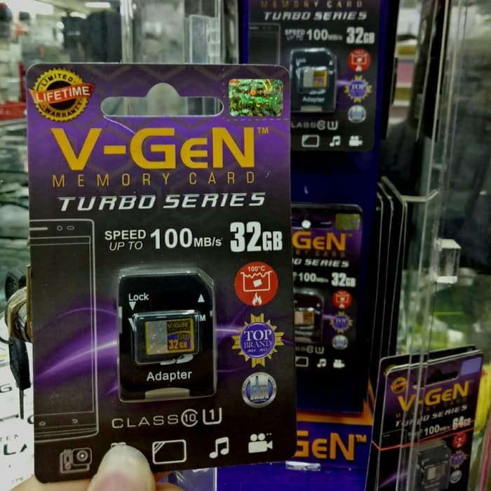 V-gen Micro SD Vgen 32GB Class 10 TURBO SERIES + Adaptor Memory Card
