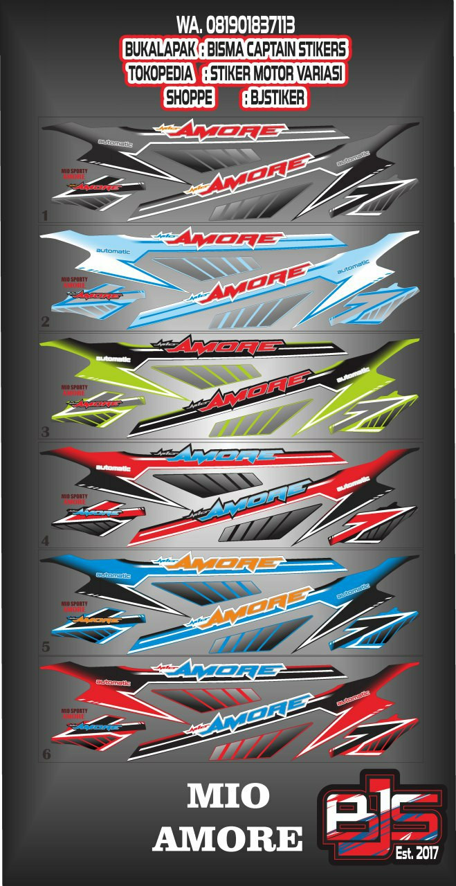 Stiker striping motor mio sporty smile amore