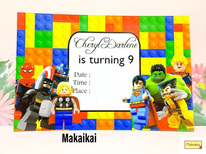 Foto Produk Kartu Undangan Invitation Birthday Lego Superhero A dari The Kimchi