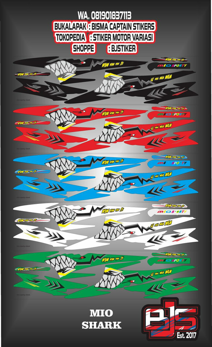 Stiker striping list motor mio sporty atau mio smile shark