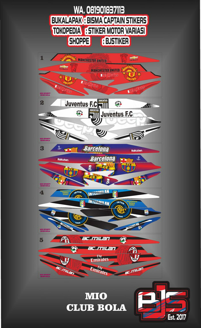 Stiker striping list motor mio sporty atau mio smile club bola