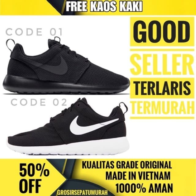 Jual Sepatu Nike Roshe Run Full Black Sneakers Men- Termurah - Hitam ... bc91c60576