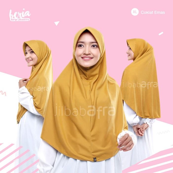 Jilbab Beria Size XL - Bergo Jilbab Afra - Hijab Instan Bahan Kaos - Abu Muda