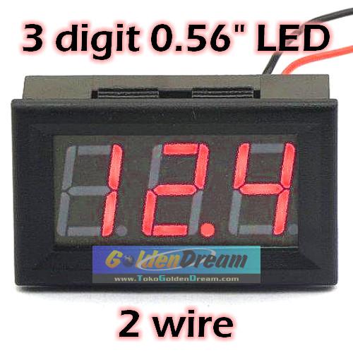 Foto Produk Voltmeter Digital Lengkap Frame 4.5-30V DC Bingkai 3 Digit LED 0.56in dari VISITEK
