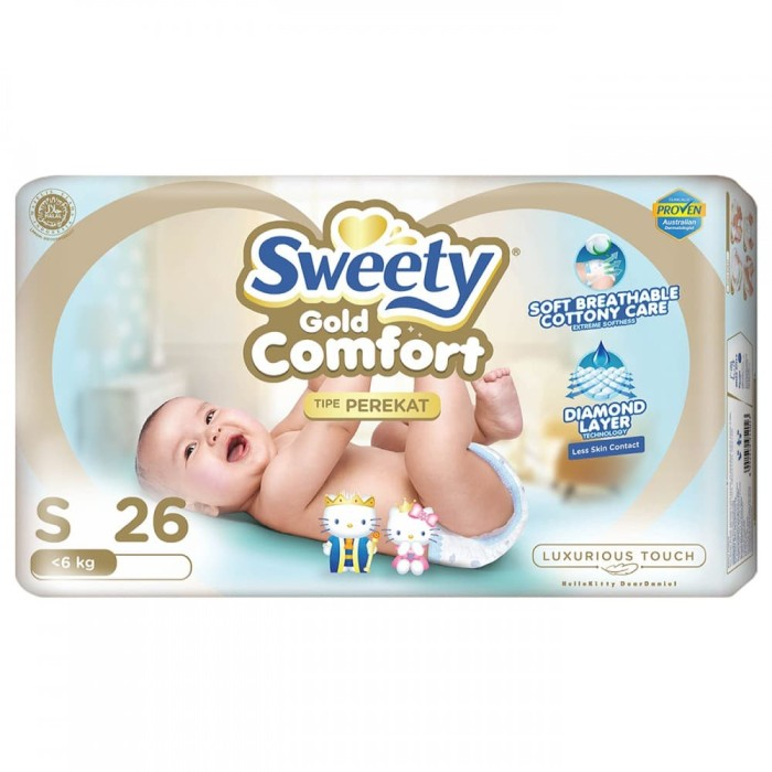 Sweety popok bayi comfort gold tape - s 26