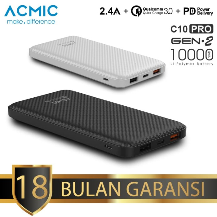 acmic c10pro 10000mah powerbank quick charge 3.0 + pd power delivery - hitam
