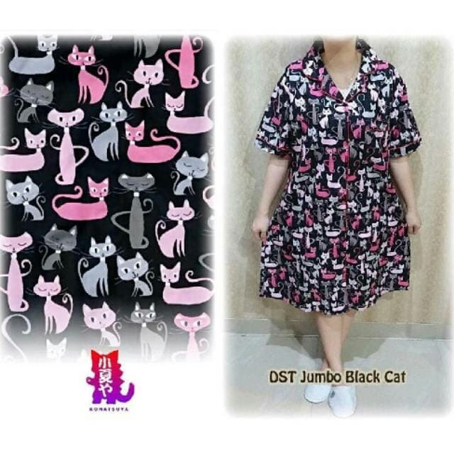 Foto Produk Piyama Daster super jumbo/ld 130 cm / Black cat dari DV_Clothing