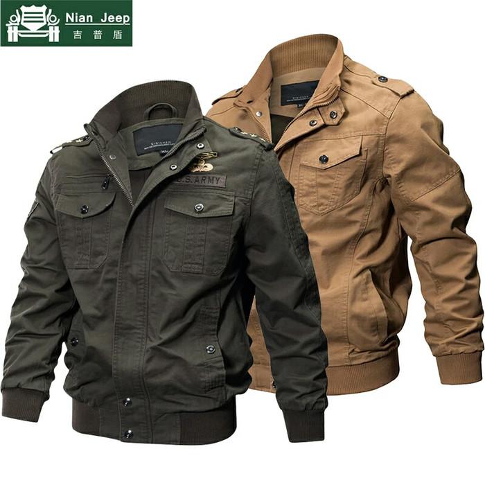 Jaket Bomber Army Jacket Nian Jeep cotton polyesther Militer Impor - Beige 1bbbcebd39