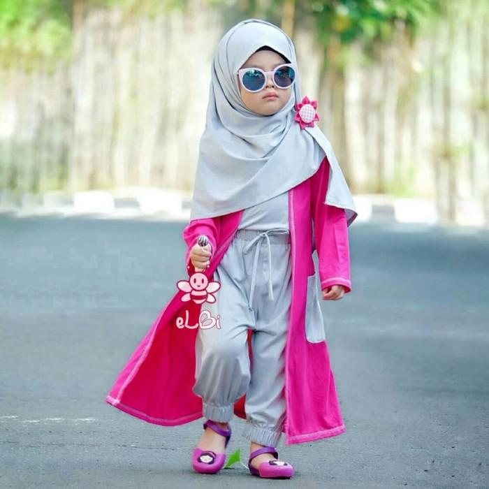 Baju Muslim Cardigan Anak   Gisela Set 1-2 th FREE Bros   Pink
