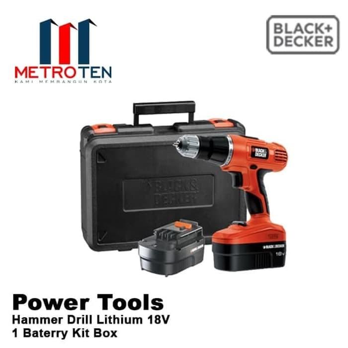 Image Black&Decker 18 V Hammer Drill Lithium 1 Baterry Kit Box