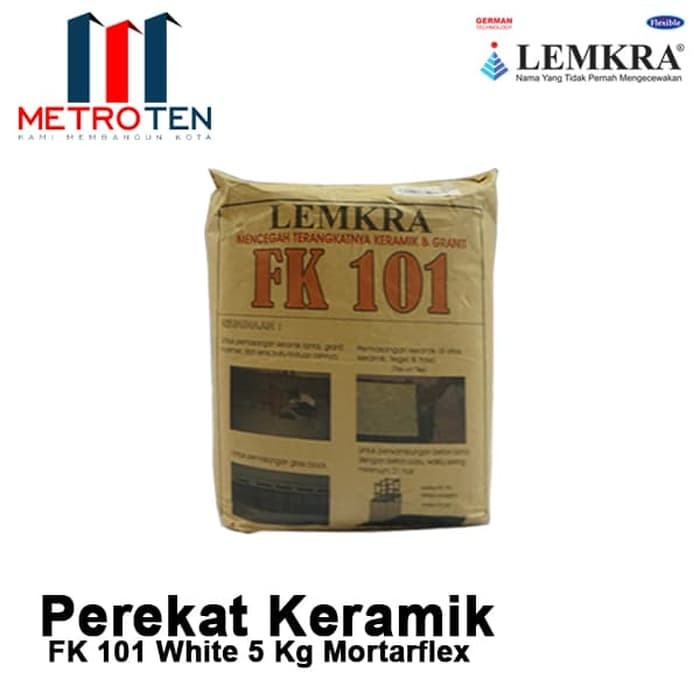Image LEMKRA Perekat Keramik Lantai FK 101 White 5Kg Mortaflex