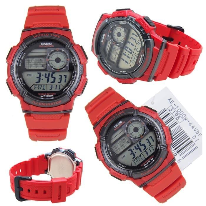 ... Strap Merah Source · Jam Tangan Pria Cowok Casio AE 1000W 4A Red Merah Digital Original