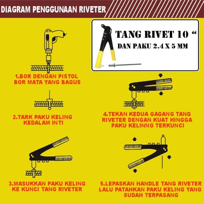 EELIC TAR-W10I MIX TANG RIVET TANG TANGAN MANUAL+50PCS PAKU 2.4x5mm