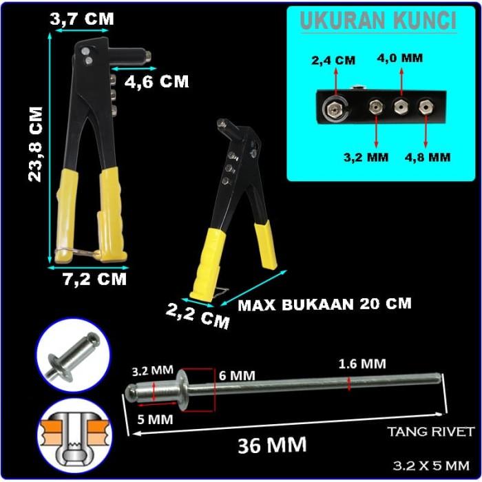 EELIC TAR-W10I MIX TANG RIVET TANG TANGAN MANUAL+50PCS PAKU 3.2X5MM