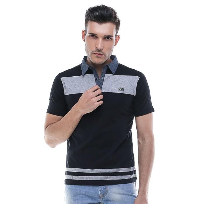 Lgs - slim fit - kaos polo - fashion - hitam - hitam l