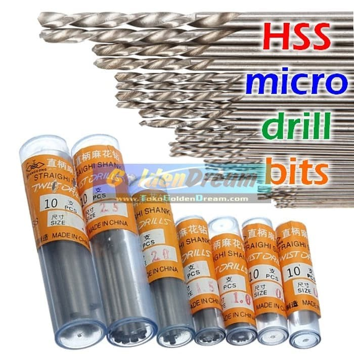Electric Drill HSS 1.0mm Dia Tip Straight Shank Twist Drill Bits 20PCS