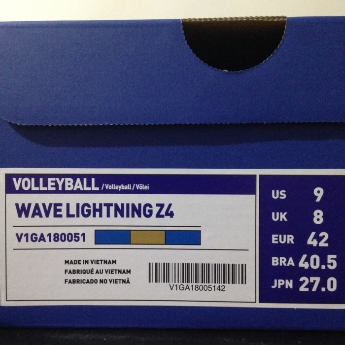 Sepatu Volley Mizuno Original Wave Lightning Z4 Blue Gold V1ga180051 ... dce5451693