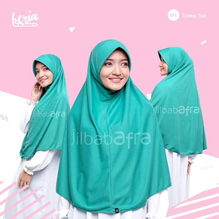 Jilbab Beria Size XXL - Bergo Jilbab Afra - Hijab Instan Bahan Kaos - Toska Muda