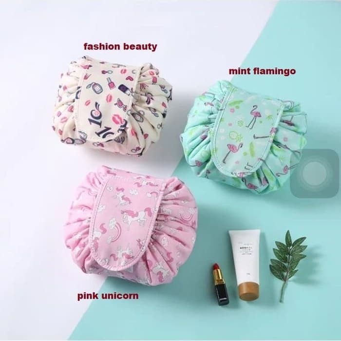 harga Korean cosmetictravel pouch - tas kosmetik serut.lazy cosmetic bag Tokopedia.com
