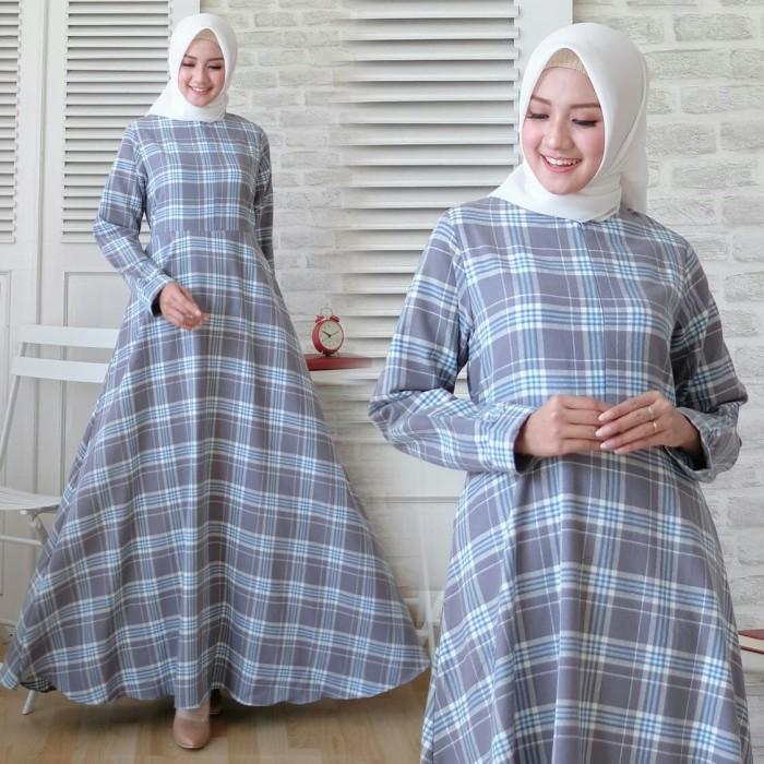 Jual Grey Gamis Flanel Import Kotak Tartan Syari Baju Busana