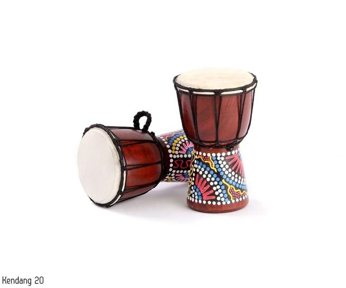 Mainan anak tradisional kayu alat musik kendang jimbe