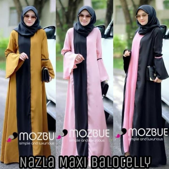 DISKON Two Tone dress Baju Pink Jual Pakaian wanita Murah Nazla Maxi
