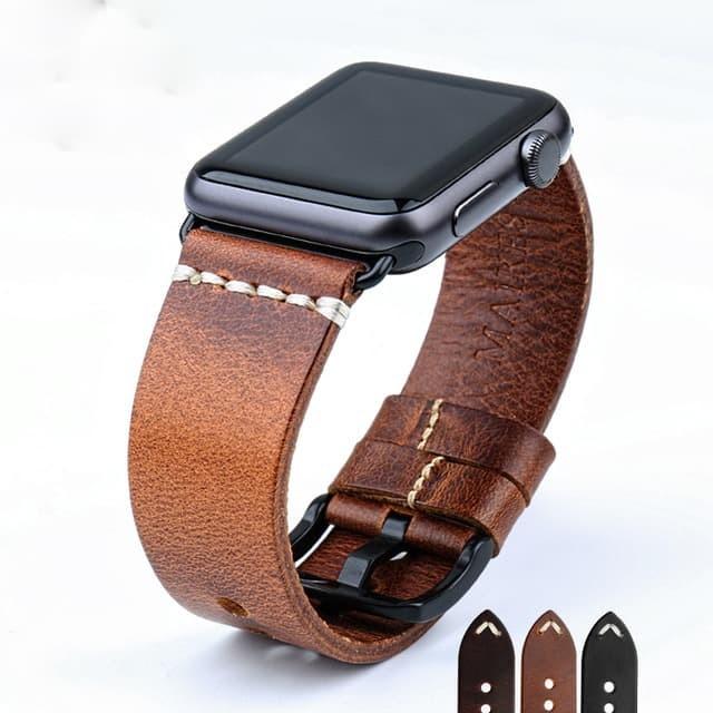Foto Produk Light Brown - Genuine Leather Strap For Apple Watch 42mm Series 1-2-3 - Perak dari Toko Aisyah24