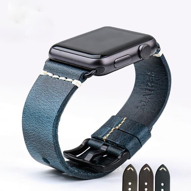Foto Produk Blue - Genuine Leather Strap For Apple Watch 42mm Series 1-2-3 - Perak dari Toko Aisyah24