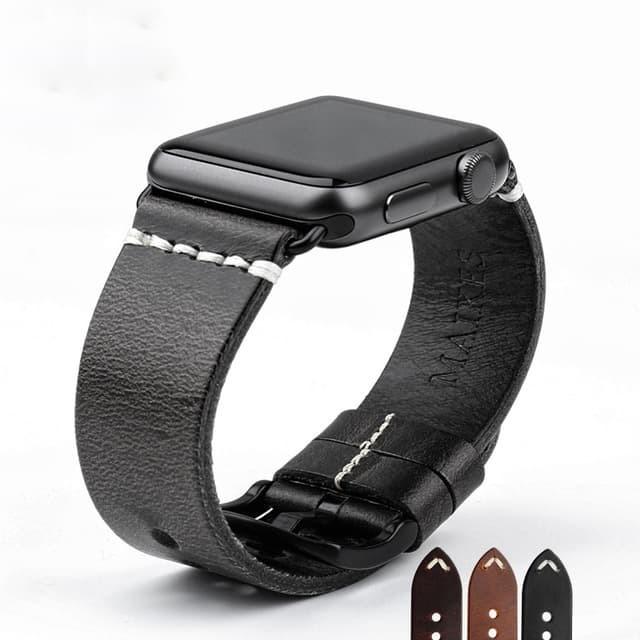 Foto Produk Black - Genuine Leather Strap For Apple Watch 42mm Series 1-2-3 - Perak dari Toko Aisyah24