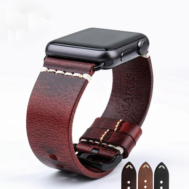 Foto Produk Red - Genuine Leather Strap For Apple Watch 42mm Series 1-2-3 - Hitam dari Toko Aisyah24
