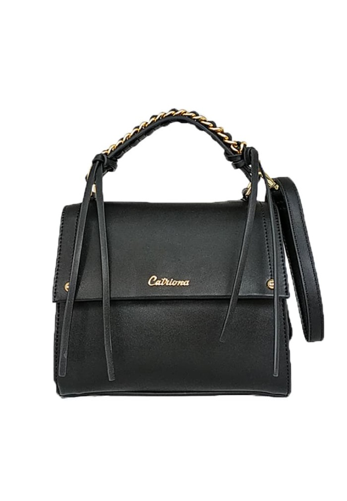 Catriona premium bria top handle bag - black