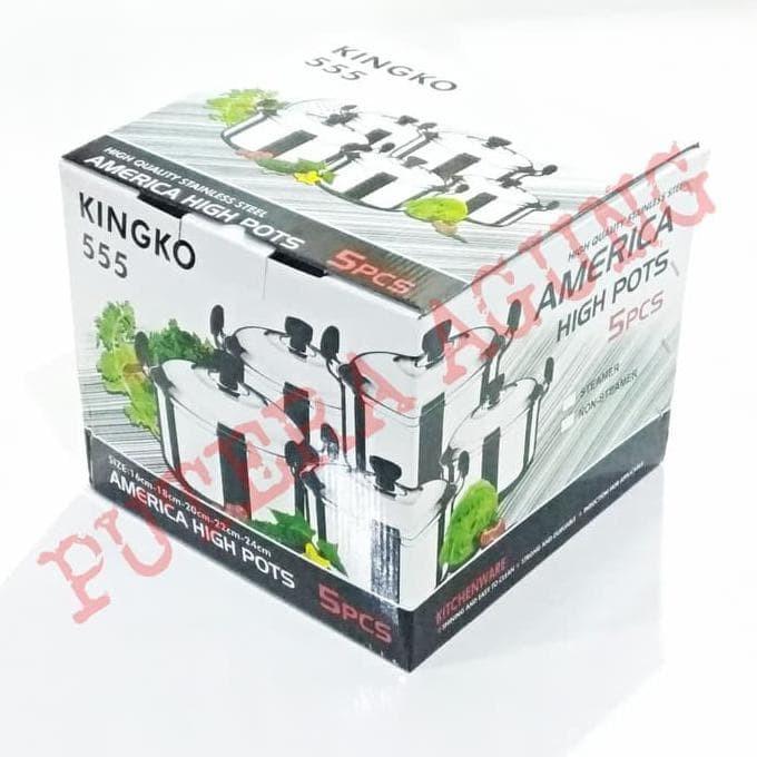 Dimana Beli Original Kingko America High Pots Panci Set Steamer Source · Panci 1 Set 5 Pcs Kingko Steamer Stainless Steel Pengukus Kue Murah