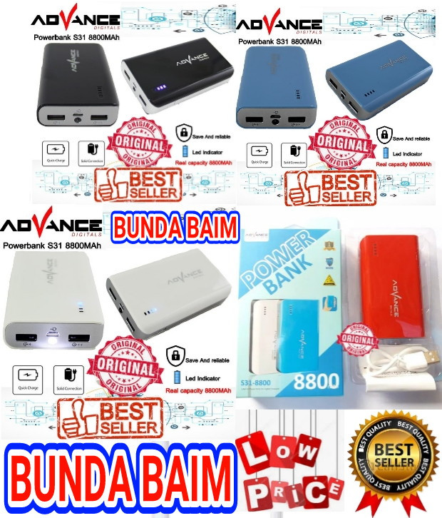 harga Powerbank advance s31 8800mah original / power bank s31-8800 mah Tokopedia.com