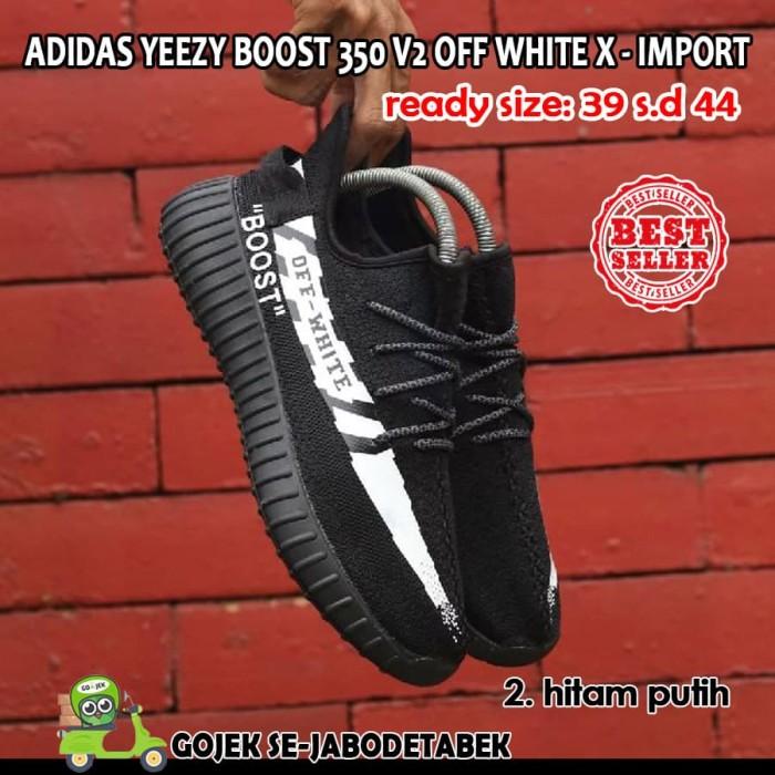 Adidas Yeezy Boost 350 V2 Off White X Import. sepatu pria - Hitam Putih 4dd25e5c3a