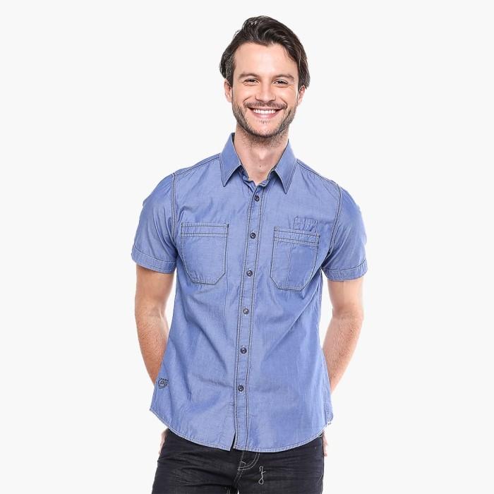 Lgs - slim fit - kemeja fashion - biru muda - denim polos - biru muda m