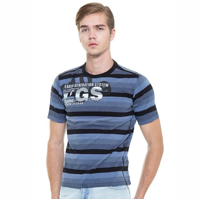 Lgs sale - regular fit - stripe tee - blue/black - with salur line - biru l