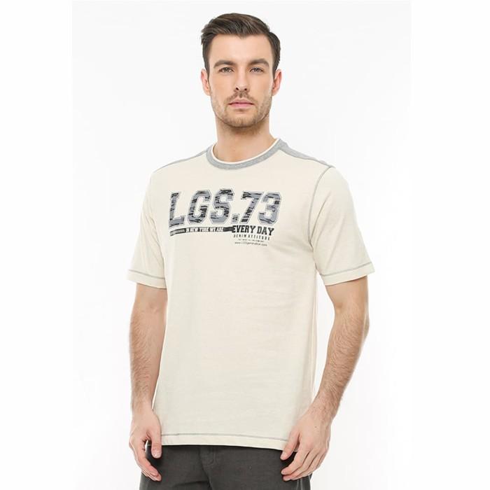 Lgs - regular fit - kaos casual - gambar sablon lgs.73 - cream - beige s