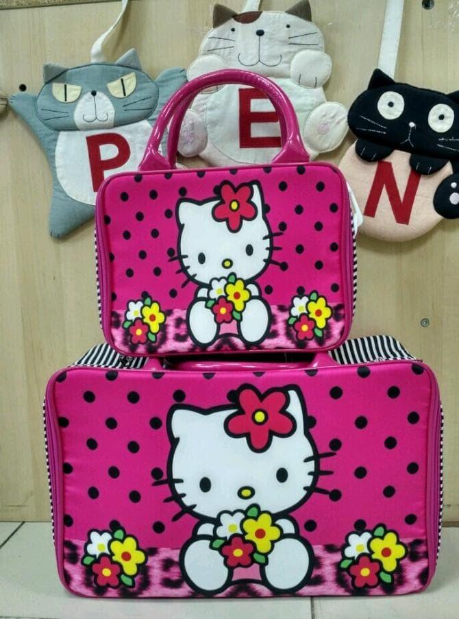 Tas Travel Bag\U002Ftas Travel Koper Kanvas Kotak Kitty Leopard Sets -