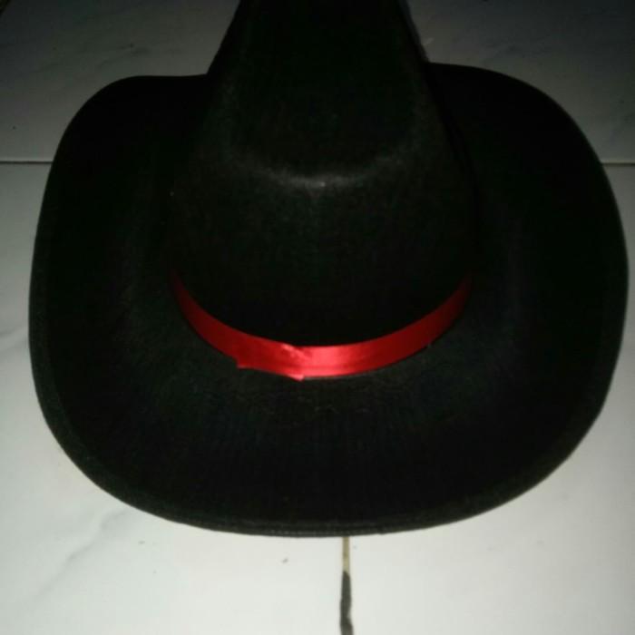 Topi koboi topi koboy topi sherif topi hitam pita merah topi fashion 3eb09bc817
