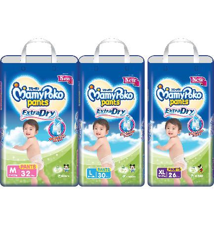 MamyPoko Pants/ Popok Celana Extra Dry M / L / XL / XXL - Size M Isi 32