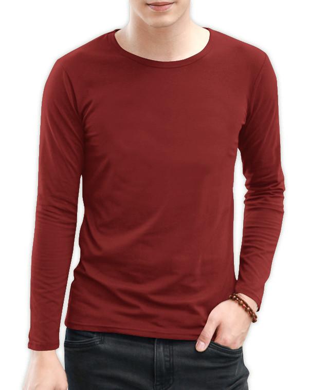 Jual Kaos Polos Pria Katun Combed 30s Lengan Panjang Warna Merah