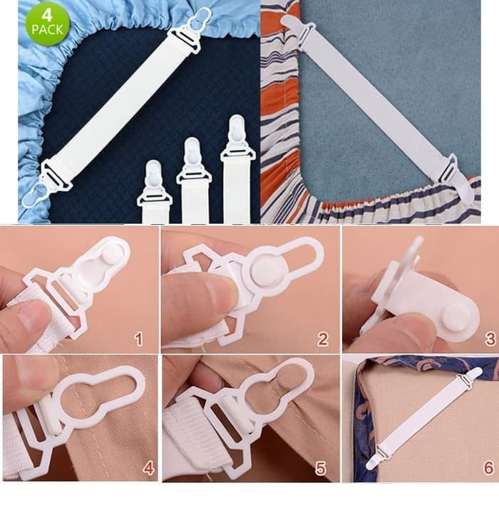 (Sprei & Bed Cover) Sheet Grippers ~ Pengait / Kait Sprei 1 Set Isi 4
