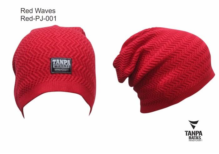 Topi Kupluk Pria Wanita Unisex Merah Casual K002 Red Wave