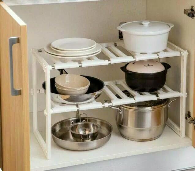 Rak Dapur Portable 2 Susun Multifungsi Stainless Kitchen Rack