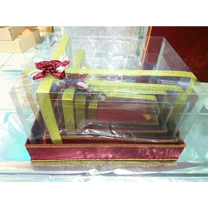Kotak Hantaran Kotak Seserahan Full Mika Maroon  Set Isi  Kotak Maroon