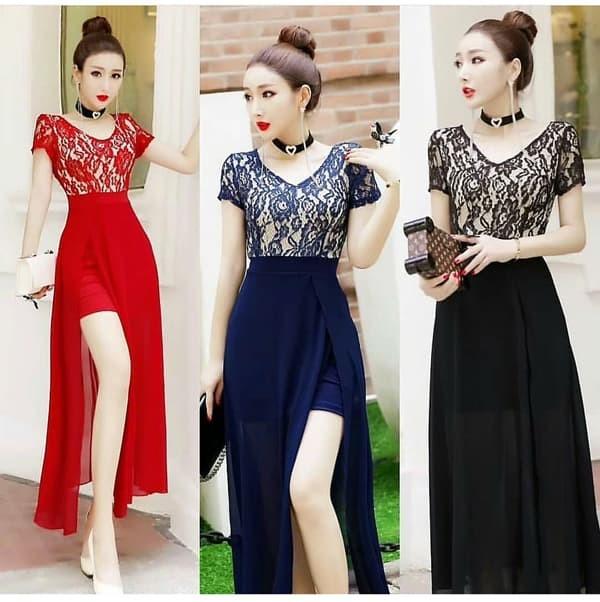 harga Jes-ps1590 longdress brokat maxi dress party import-baju gaun pesta Tokopedia.com