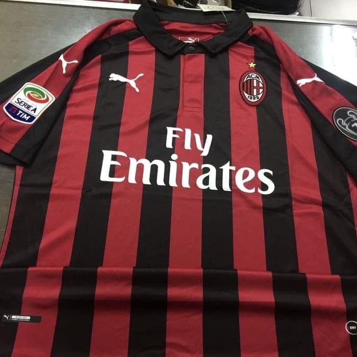 harga Jersey baju kaos promo ac milan home 18/19 puma + patch serie a boh7 Tokopedia.com