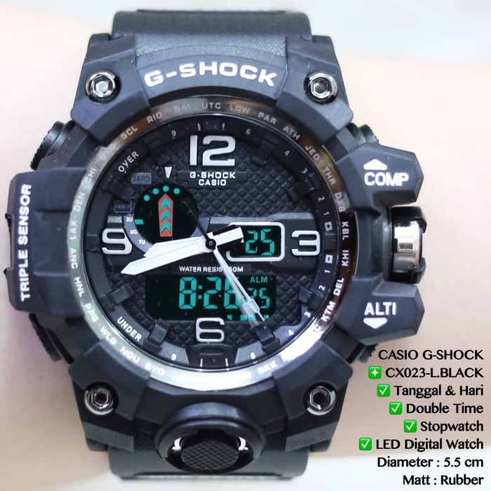 JAM TANGAN PRIA CASIO G-SHOCK BLACK DIGITAL LED LAMPU RUBBER - LISTGOLD